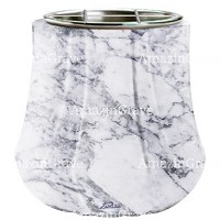 Flowers pot Leggiadra 19cm - 7,5in In Carrara marble, steel inner