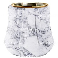 Flowers pot Leggiadra 19cm - 7,5in In Carrara marble, golden steel inner