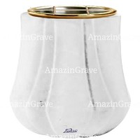 Flowers pot Leggiadra 19cm - 7,5in In Sivec marble, golden steel inner