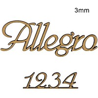 Letters and numbers Allegro, in various sizes Single fret-worked bronze plaque 3mm