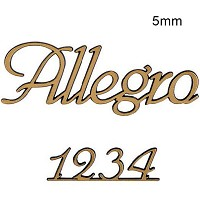 Letters and numbers Allegro, in various sizes Single fret-worked bronze plaque 5mm - 1,9in