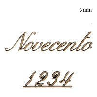 Letters and numbers Novecento, in various sizes Single fret-worked bronze plaque 5mm - 1,9in