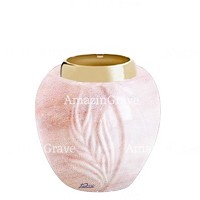 Base for grave lamp Spiga 10cm - 4in In Pink Portugal marble, with golden steel ferrule