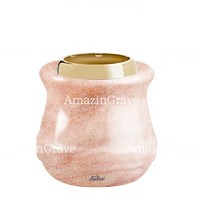 Base for grave lamp Calyx 10cm - 4in In Pink Portugal marble, with golden steel ferrule