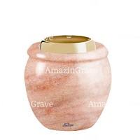 Base for grave lamp Amphòra 10cm - 4in In Pink Portugal marble, with golden steel ferrule