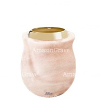 Base for grave lamp Gondola 10cm - 4in In Pink Portugal marble, with golden steel ferrule