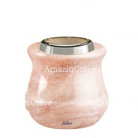 Base for grave lamp Calyx 10cm - 4in In Pink Portugal marble, with steel ferrule