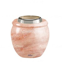 Base for grave lamp Amphòra 10cm - 4in In Pink Portugal marble, with steel ferrule