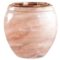 Flowers pot Amphòra 19cm - 7,5in In Pink Portugal marble, copper inner