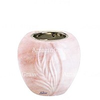 Base for grave lamp Spiga 10cm - 4in In Pink Portugal marble, with recessed nickel plated ferrule