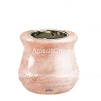 Base for grave lamp Calyx 10cm - 4in In Pink Portugal marble, with recessed nickel plated ferrule