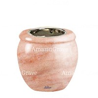 Base for grave lamp Amphòra 10cm - 4in In Pink Portugal marble, with recessed nickel plated ferrule