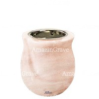 Base for grave lamp Gondola 10cm - 4in In Pink Portugal marble, with recessed nickel plated ferrule