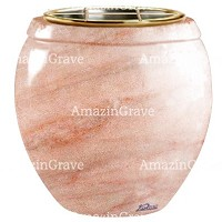 Flowers pot Amphòra 19cm - 7,5in In Pink Portugal marble, golden steel inner