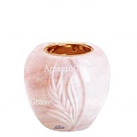 Base for grave lamp Spiga 10cm - 4in In Pink Portugal marble, with recessed copper ferrule