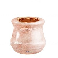 Base for grave lamp Calyx 10cm - 4in In Pink Portugal marble, with recessed copper ferrule