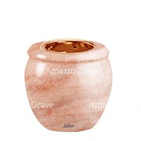 Base for grave lamp Amphòra 10cm - 4in In Pink Portugal marble, with recessed copper ferrule