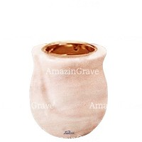 Base for grave lamp Gondola 10cm - 4in In Pink Portugal marble, with recessed copper ferrule