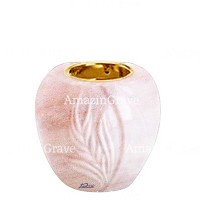 Base for grave lamp Spiga 10cm - 4in In Pink Portugal marble, with recessed golden ferrule