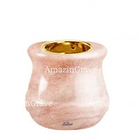Base for grave lamp Calyx 10cm - 4in In Pink Portugal marble, with recessed golden ferrule