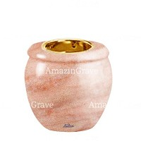 Base for grave lamp Amphòra 10cm - 4in In Pink Portugal marble, with recessed golden ferrule