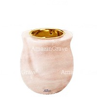 Base for grave lamp Gondola 10cm - 4in In Pink Portugal marble, with recessed golden ferrule