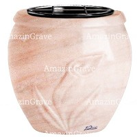 Flowers pot Calla 19cm - 7,5in In Pink Portugal marble, plastic inner