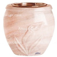 Flowers pot Calla 19cm - 7,5in In Pink Portugal marble, copper inner