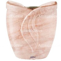 Flowers pot Gres 19cm - 7,5in In Pink Portugal marble, golden steel inner