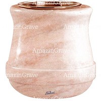 Flowers pot Calyx 19cm - 7,5in In Pink Portugal marble, copper inner