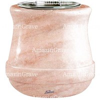 Flowers pot Calyx 19cm - 7,5in In Pink Portugal marble, steel inner