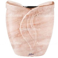 Flowers pot Gres 19cm - 7,5in In Pink Portugal marble, plastic inner