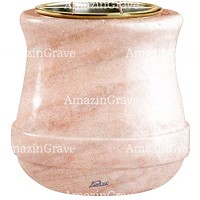 Flowers pot Calyx 19cm - 7,5in In Pink Portugal marble, golden steel inner