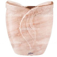 Flowers pot Gres 19cm - 7,5in In Pink Portugal marble, copper inner