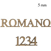 Letters and numbers Romano, in various sizes Single fret-worked bronze plaque 5mm - 1,9in