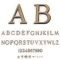 PACKS 25 letters patinated Roman, in various sizes Individual bronze letter or number