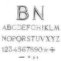 Letters and numbers Roman, in various sizes Individual steel lettering