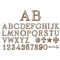Letters and numbers Roman brushed, in various sizes Individual bronze lettering