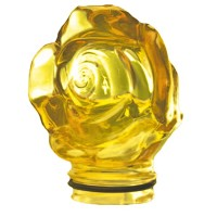 Yellow crystal Frontal rose 9,5cm - 3,9in Decorative flameshade for lamps