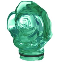 Green crystal Frontal rose 9,5cm - 3,5in Decorative flameshade for lamps