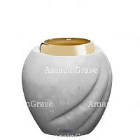 Base for grave lamp Soave 10cm - 4in In Sivec marble, with golden steel ferrule