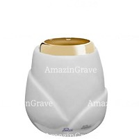 Base for grave lamp Liberti 10cm - 4in In Sivec marble, with golden steel ferrule