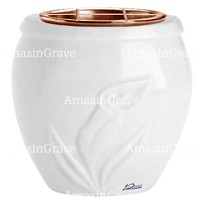 Flowers pot Calla 19cm - 7,5in In Sivec marble, copper inner