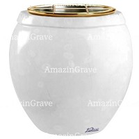 Flowers pot Amphòra 19cm - 7,5in In Sivec marble, golden steel inner