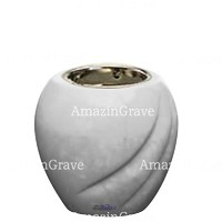 Base for grave lamp Soave 10cm - 4in In Sivec marble, with recessed nickel plated ferrule