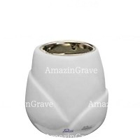 Base for grave lamp Liberti 10cm - 4in In Sivec marble, with recessed nickel plated ferrule
