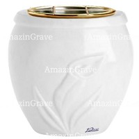 Flowers pot Calla 19cm - 7,5in In Sivec marble, golden steel inner