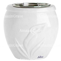Flowers pot Calla 19cm - 7,5in In Sivec marble, steel inner