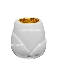 Base for grave lamp Liberti 10cm - 4in In Sivec marble, with recessed golden ferrule