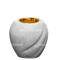 Base for grave lamp Soave 10cm - 4in In Sivec marble, with recessed golden ferrule
